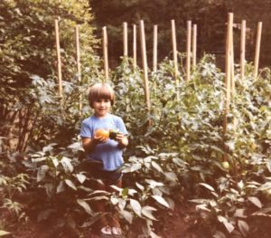 jeff in his garden as a child